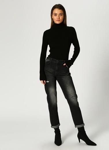 Limon Company Limon Eskitme Tasarımlı Antrasit Denim Pantolon Siyah